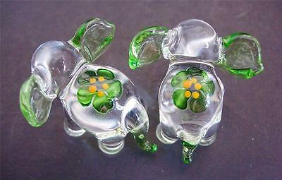 2 Tiny Glass ELEPHANTS, Animals, Green Painted Flower & Ears, Glass Ornaments