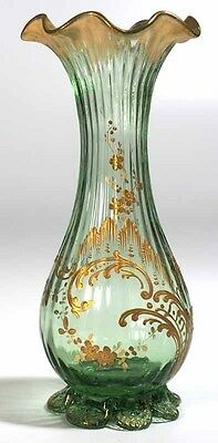LeGras & Cie Rococo Decorated Ribbed Vase - Green with Gold