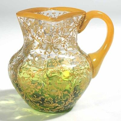 Moser Enamel and Gold Floral Decorated - Creamer - Clear shading to Green