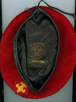 EXCELLENT Older Official Boy Scout Red 100% Wool Beret - SIZE LARGE