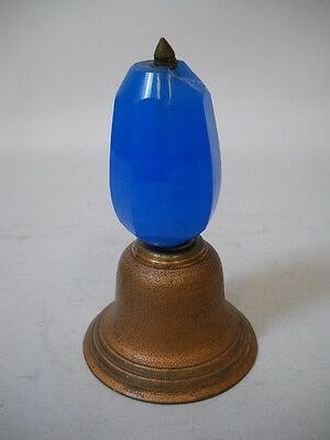 VINTAGE Brass, PITTED COPPER, and AUSTRIAN Blue GLASS Handle From SPEARS NY 1950