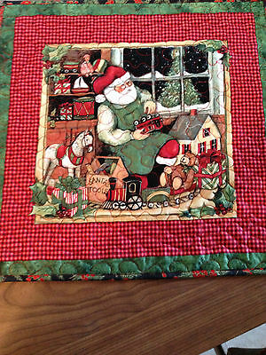 Handcrafted-Quilted Tabletopper- Christmas -Scene with Santa's Workshop/Train