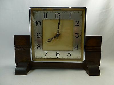 Garrards Vintage Art Deco Mantel Clock For Repair & Restoration Oak & Chrome