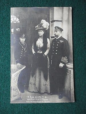 Antique Photo Postcard King George V Queen Mary & the New Prince of Wales