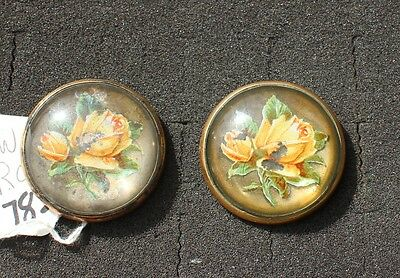 """31-71 -Pair ANTIQUE VINTAGE bridle rosettes 1 3/4""""  glass domed YELLOW ROSES"""
