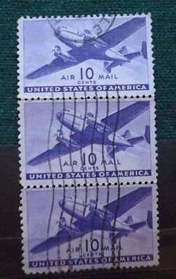 USA 10 Cents Postage Stamps Strip of 3 Airmail