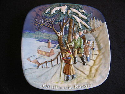 "BESWICK 'CHRISTMAS in NORWAY' #2522 8"" Sq' WALL PLATE LTD EDITION c.1975 Lt A/F"