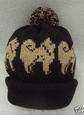 CHOW CHOW on NEW DARK BROWN Knitted beanie pompom bobble ADULT size