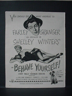 1951 Shelley Winters Farley Granger Movie: 'Behave Yourself' Vintage Ad 11499