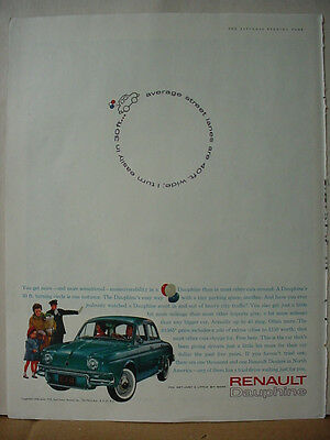 1961 Renault Dauphine French Import Car Cop Mom Girl Vintage Print Ad 10286