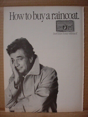 1985 Peter Falk as Columbo for American Express Raincoat Vintage Print Ad 152