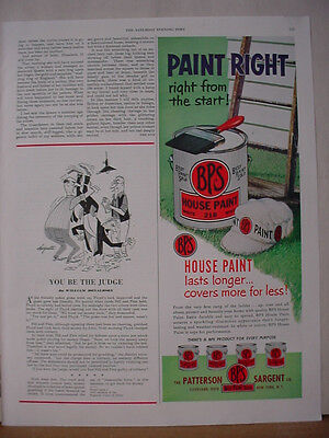 1953 Patterson Sargent BPS House Paint Paint Right Vintage Print Ad 10476