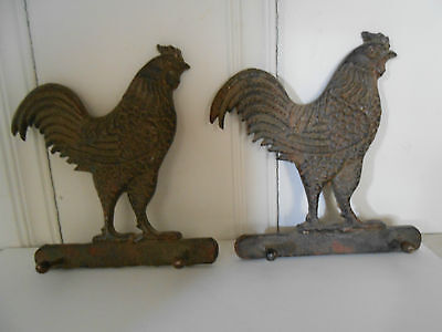 Set Of 2 Vintage Cast Iron Rooster Double Wall Hook Hangers