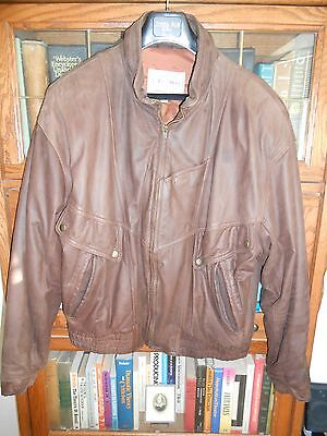 Men's Brown Leather Hooded Bomber Jacket Size L great condition - FREE SHIPPING!
