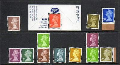 (A255)  SELECTION OF   MACHINS  ALL MNH 13  STAMPS incl 1st class label
