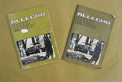 TWO Austin Allegro 1100 and 1300 Owner's Handbooks / Owner's Manuals
