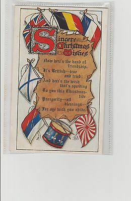 WW1 Patriotic Christmas Greetings Allied Flags From Daddy Christmas 1915 Soloman