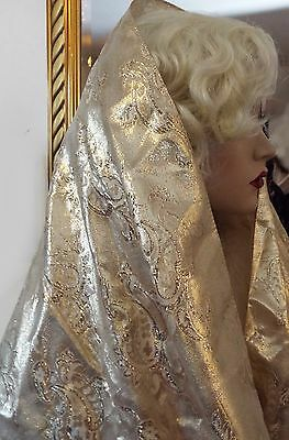 Vintage SHINY GOLD EVENING SHAWL PAISLEY TASSELS SCARF Stole Wrap Flapper Scarf
