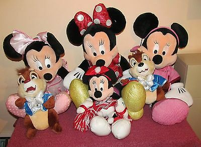 Collection of Disney soft toys 4 Minnie mouse and 2 chipmunks, Chip and Dale.