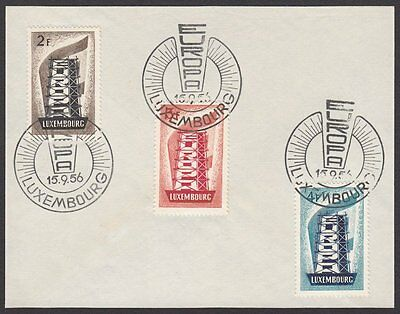Luxembourg, 1956 Europa CEPT Set of 3. Fine Used on Piece with First Day H/S