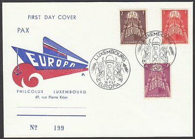 Luxembourg, 1957 Europa CEPT Illustrated FDC. SCARCE 'PHILCOLUX' BOAT CACHET