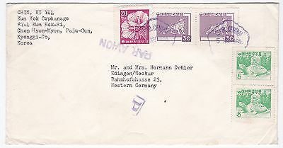 Korea Seoul Central to Western Germany 1960 Airmail cover