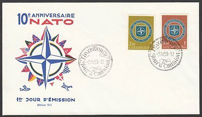 Luxembourg, 1959 10th Anniversary of NATO Illustrated FDC. Special Handstamp