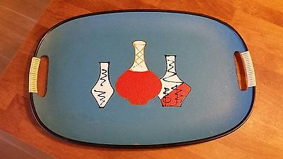 Vintage Italian Blue Papier Mache Twin-Handled Serving Tray – Wine Carafes –