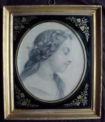 """Signed """"Villelia""""  French School 19th Century. Drawing"""