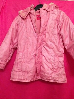 Girls Used Pink Thick Padded Waterproof Coat With Hood Age 3/4