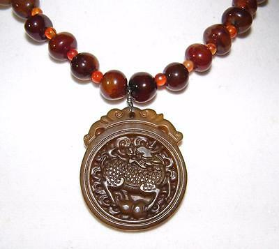Agate Stone Bead Necklace & Carved  Disc