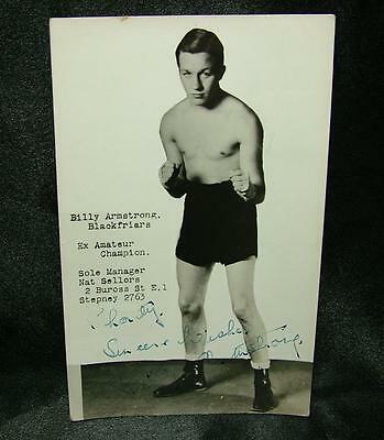 Signed Autographed Boxing Photo Postcard Billy Armstrong - Lot 25