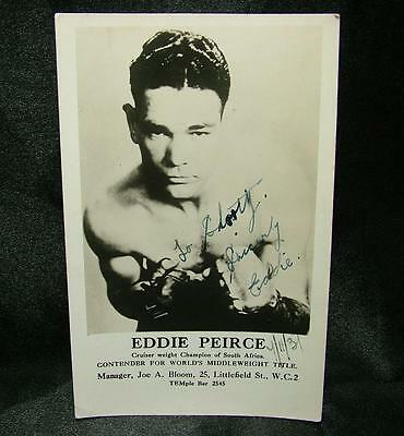 Signed Autographed Boxing Photo Postcard Eddie Peirce 1937 - Lot 26