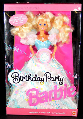 Nib Barbie Dolls 1992 Birthday Flowered Gown Cake