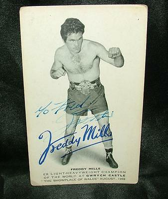 Signed Autographed Boxing Photograph Postcard Freddy Mills Champ 1950 - Lot 31