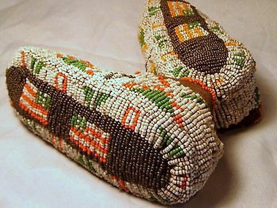 "Vintage Circa 1890 Antique 6.75"" Arapaho Ceremonial Beaded Youth Moccasins"