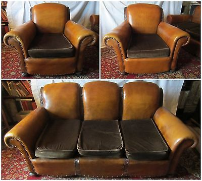 Three Piece 1920/30's Leather Sofa & Armchair Suite (see details)