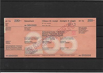 Switzerland, 50, 100 and 200 chf specimen travelers cheques (#31237a)