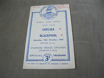 CHELSEA v BLACKPOOL 16/10/48 , FOOTBALL LEAGUE DIVISION 1 - &  MATCH REPORT
