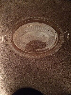 Vintage Pink Depression Glass Oval  Serving Platter / Plate With Etched Flowers