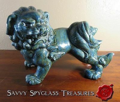 Monterey Jade Blue Green Pottery Chinese Foo Dog Coin Bank Figurine