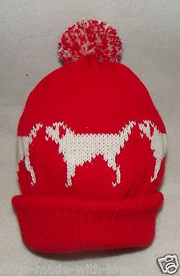 LABRADOR dog NEW Knitted Adult size RED beanie pompom bobble HAT
