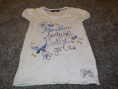 Girls White Butterfly Tshirt Age 5-6 Take A Look!!!