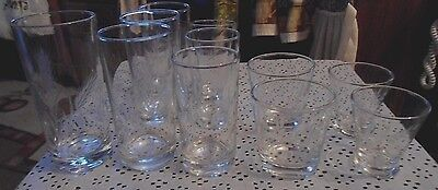 11 CRYSTAL GLASSES ETCHED WITH WHEAT DESIGN  5 SIZES 3 MARKED Anchor Hocking