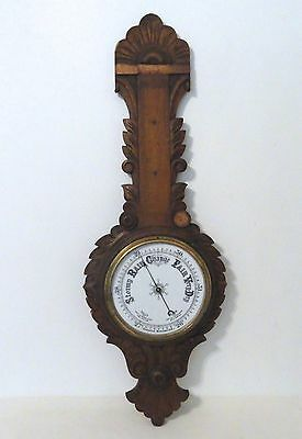 Antique Aneroid Barometer & Wood Wall Mount