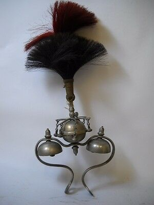 ANTIQUE Saddle BELL with HORSE HAIR Top RED AND BLACK 2 Bells with CLAPPERS