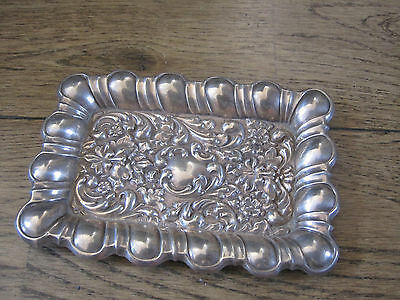 Stunning 1902 William Devenport solid silver repousse miniature pin dish tray