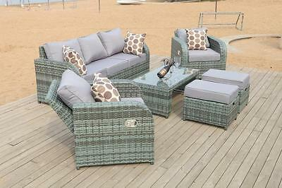 Grey Rattan Garden Furniture Set Sofa + Reclining Chairs Conservatory Outdoor