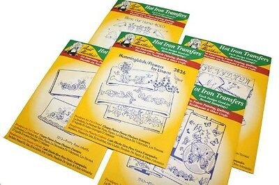 Aunt Martha's Iron On Transfer Patterns for Stitching, Embroidery or Fabric