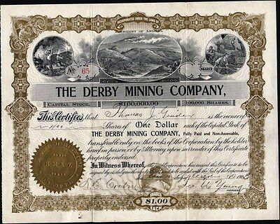 Derby Mining Company, Territory Of Arizona, 1903, Uncancelled  Stock Certificate